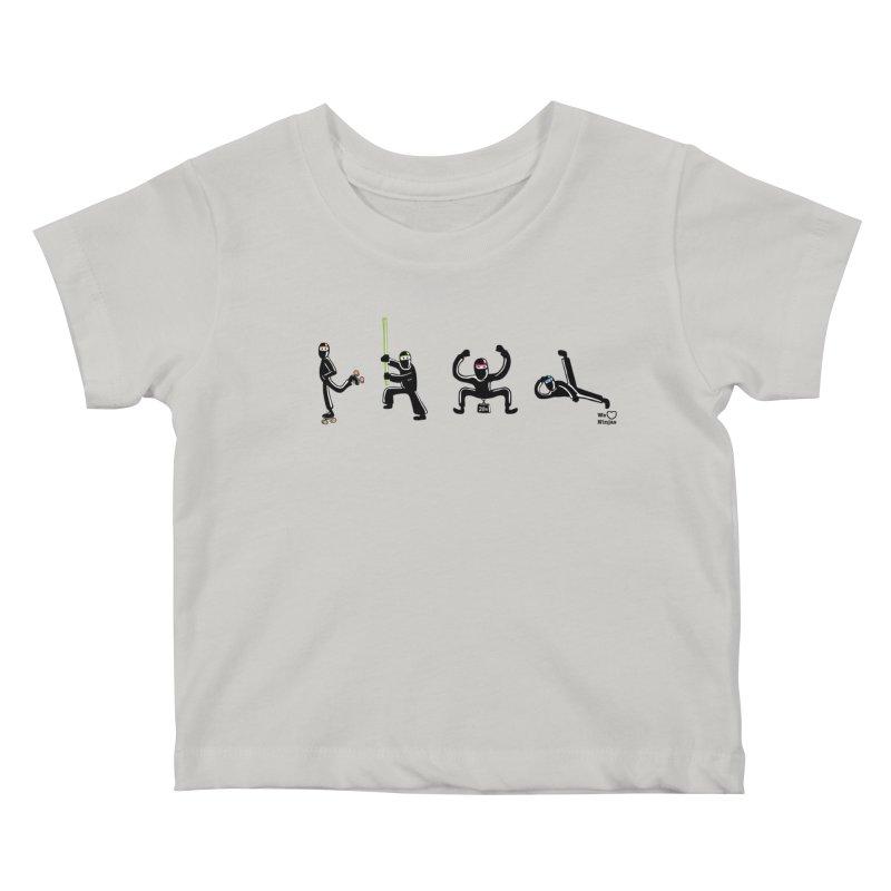 Four ninjas in a row! Kids Baby T-Shirt by Weheartninjas's Artist Shop