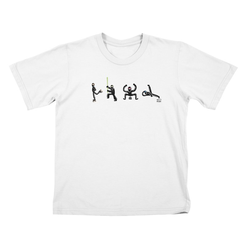 Four ninjas in a row! Kids T-Shirt by Weheartninjas's Artist Shop