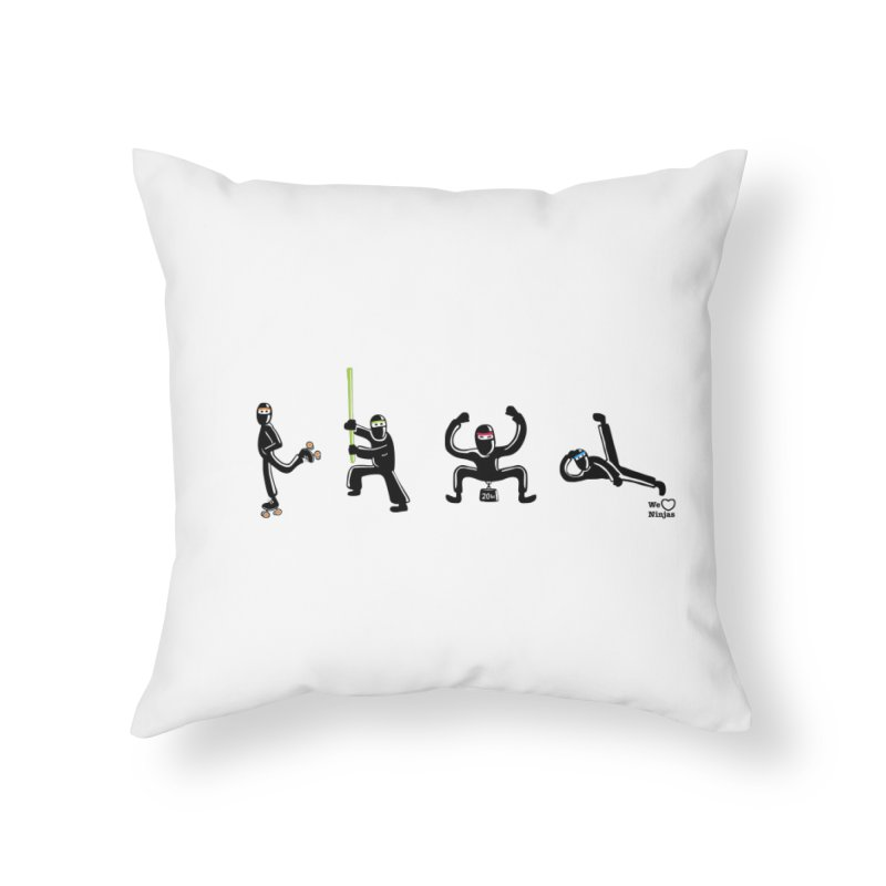 Four ninjas in a row! Home Throw Pillow by Weheartninjas's Artist Shop