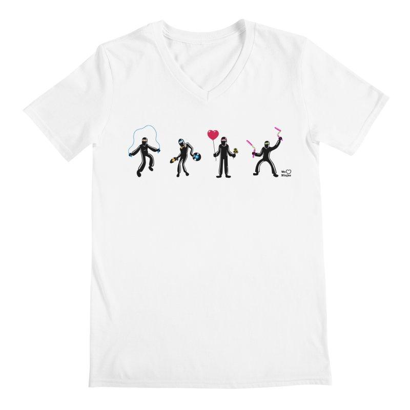 Ninjas unite to make four ninjas! Men's Regular V-Neck by Weheartninjas's Artist Shop