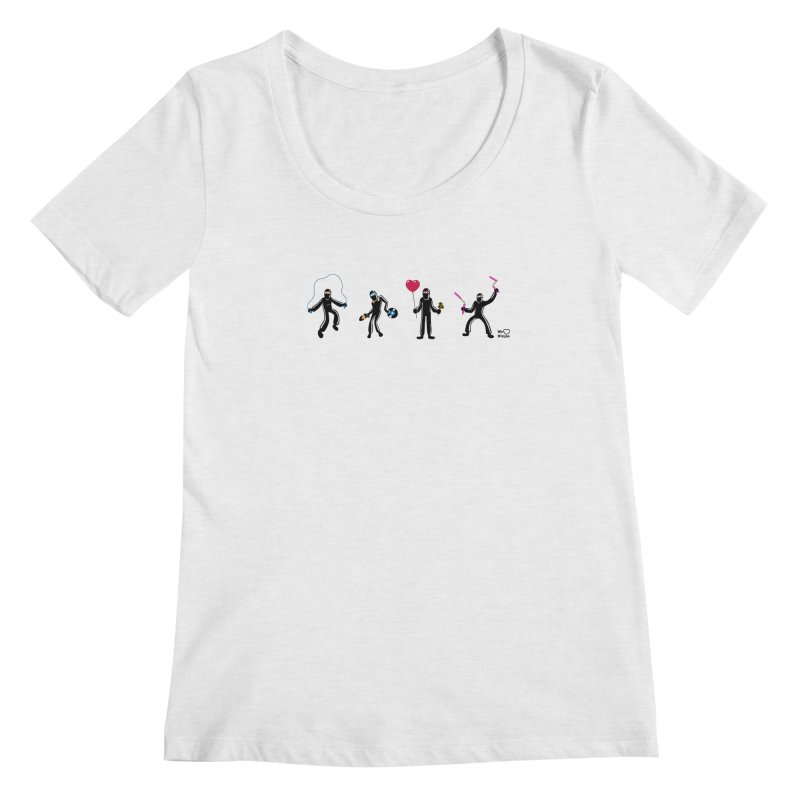 Ninjas unite to make four ninjas! Women's Scoopneck by Weheartninjas's Artist Shop
