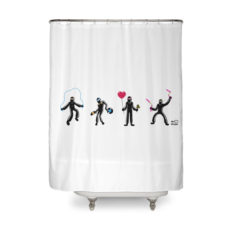 Ninjas unite to make four ninjas! Home Shower Curtain by Weheartninjas's Artist Shop