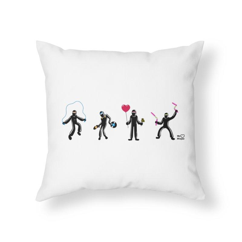 Ninjas unite to make four ninjas! Home Throw Pillow by Weheartninjas's Artist Shop