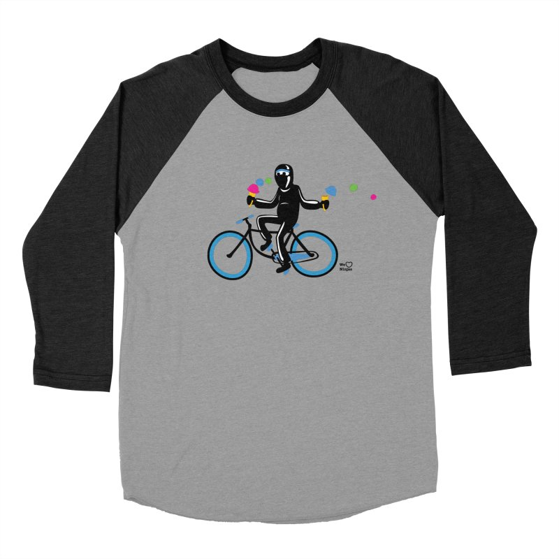 Ninja on a blue bike! Men's Baseball Triblend Longsleeve T-Shirt by Weheartninjas's Artist Shop
