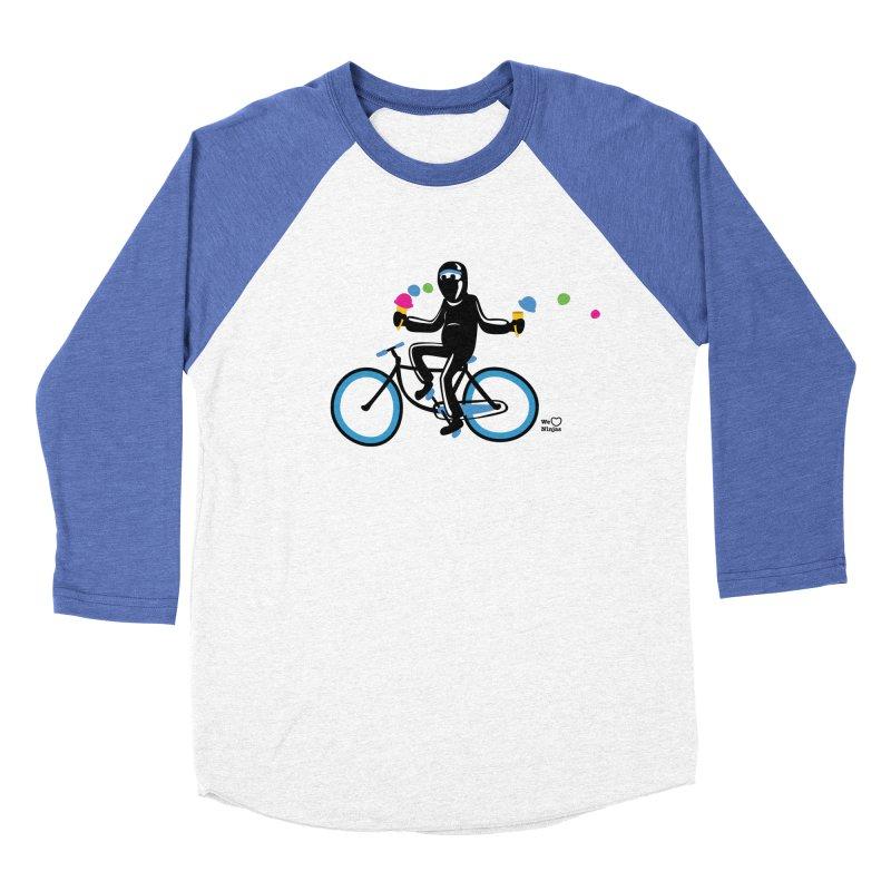 Ninja on a blue bike! Men's Baseball Triblend Longsleeve T-Shirt by Weheartninjas's Artist Shop