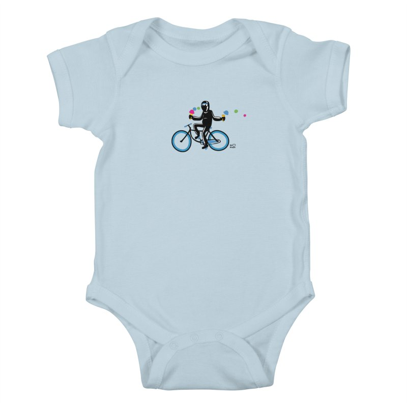 Ninja on a blue bike! Kids Baby Bodysuit by Weheartninjas's Artist Shop