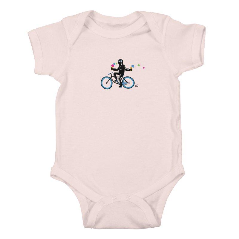 Ninja on a blue bike! Kids Baby Bodysuit by Weheartninjas's Artist Shop