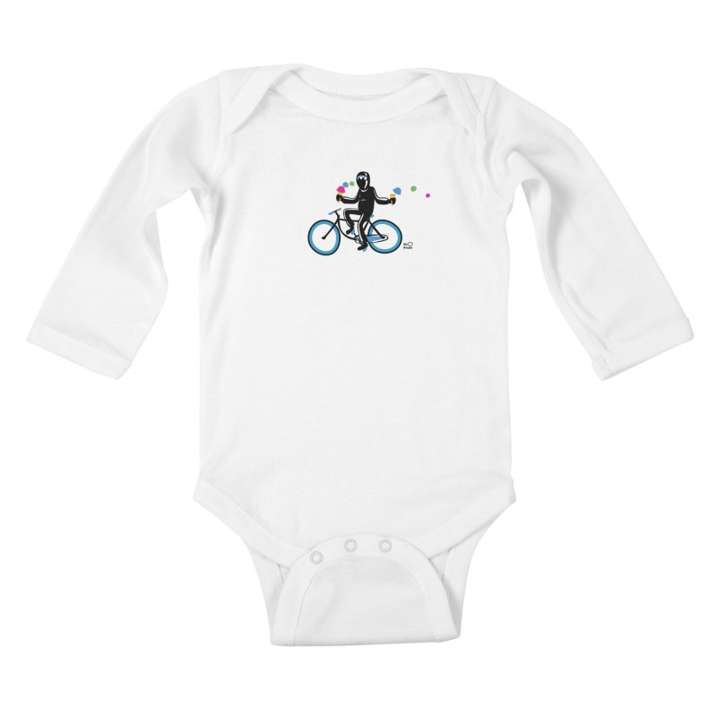 Ninja on a blue bike! Kids Baby Longsleeve Bodysuit by Weheartninjas's Artist Shop