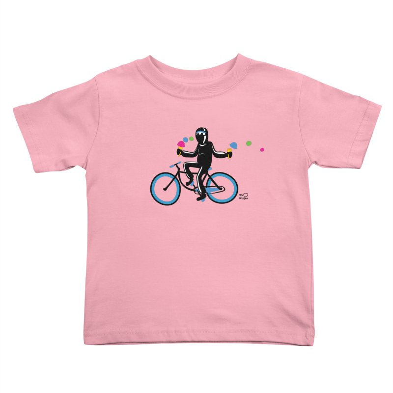 Ninja on a blue bike! Kids Toddler T-Shirt by Weheartninjas's Artist Shop