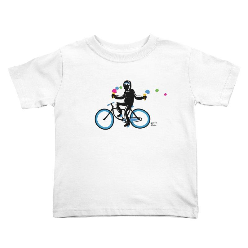 Ninja on a blue bike! Kids Toddler T-Shirt by Weheartninjas's Artist Shop