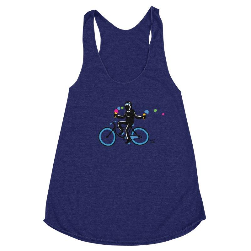 Ninja on a blue bike! Women's Racerback Triblend Tank by Weheartninjas's Artist Shop