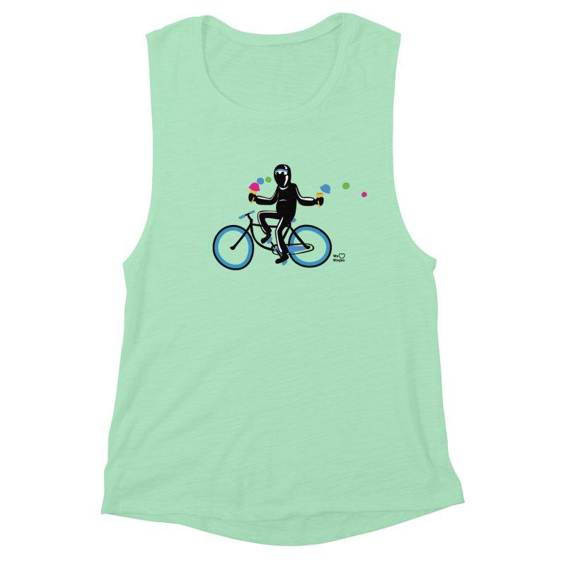 Ninja on a blue bike! Women's Muscle Tank by Weheartninjas's Artist Shop