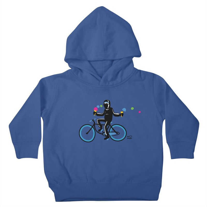 Ninja on a blue bike! Kids Toddler Pullover Hoody by Weheartninjas's Artist Shop