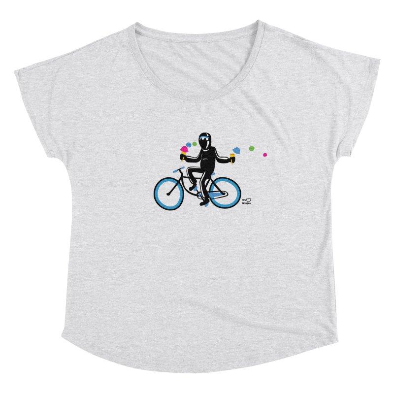 Ninja on a blue bike! Women's Dolman Scoop Neck by Weheartninjas's Artist Shop