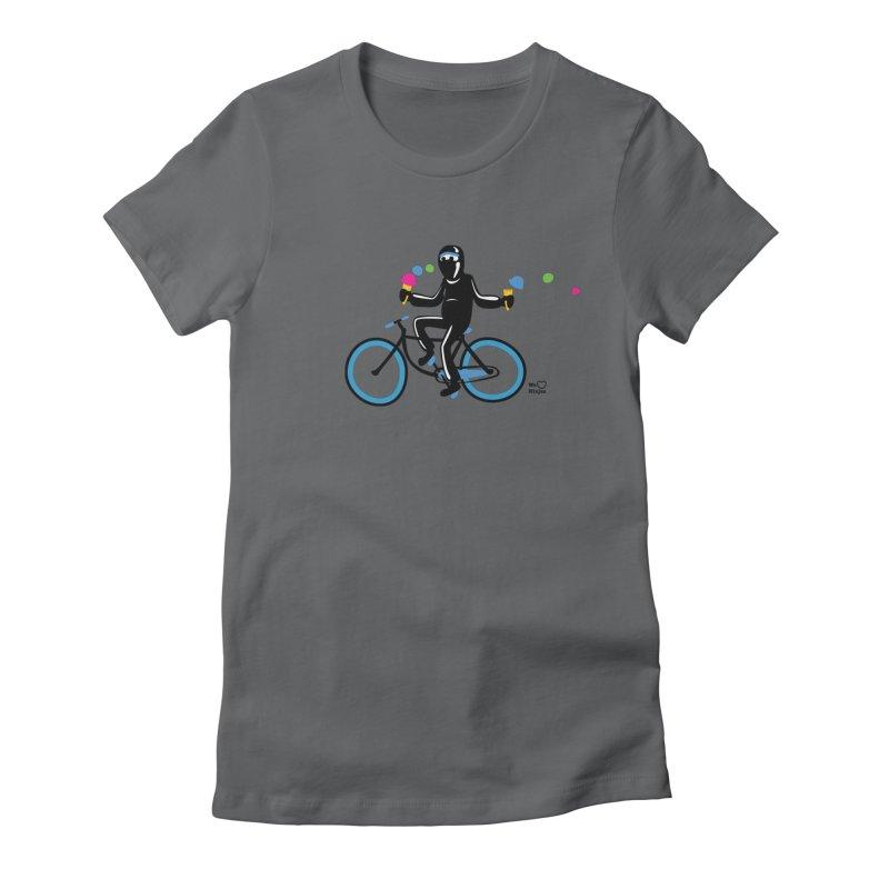 Ninja on a blue bike! Women's Fitted T-Shirt by Weheartninjas's Artist Shop