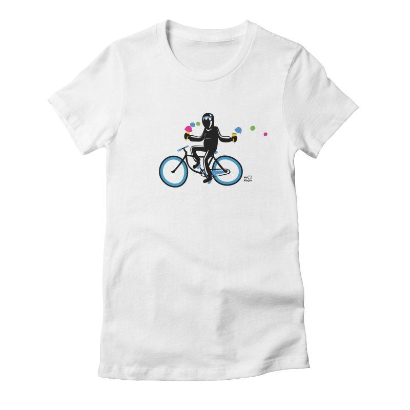 Ninja on a blue bike! Women's T-Shirt by Weheartninjas's Artist Shop