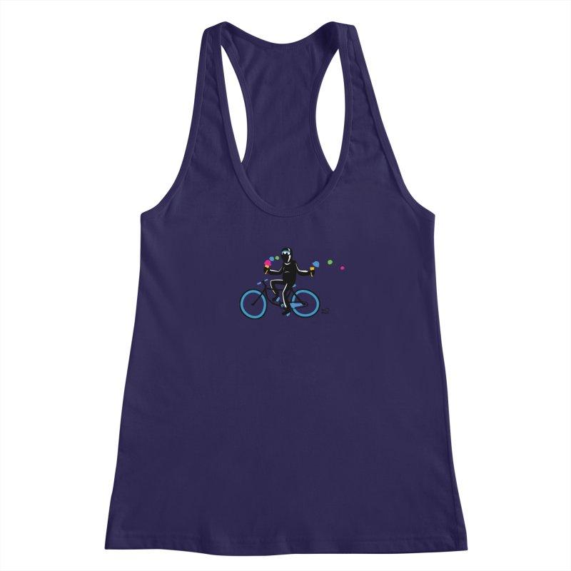 Ninja on a blue bike! Women's Racerback Tank by Weheartninjas's Artist Shop