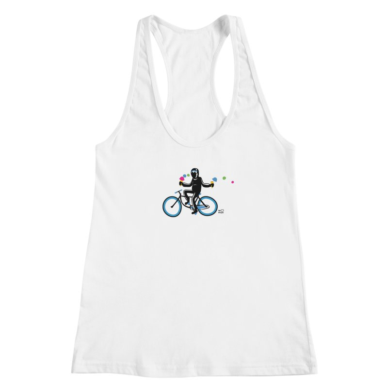 Ninja on a blue bike! Women's Racerback Tank by Weheartninjas's Artist Shop