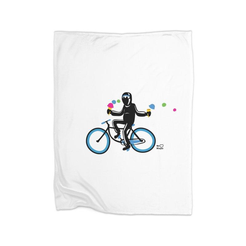 Ninja on a blue bike! Home Blanket by Weheartninjas's Artist Shop