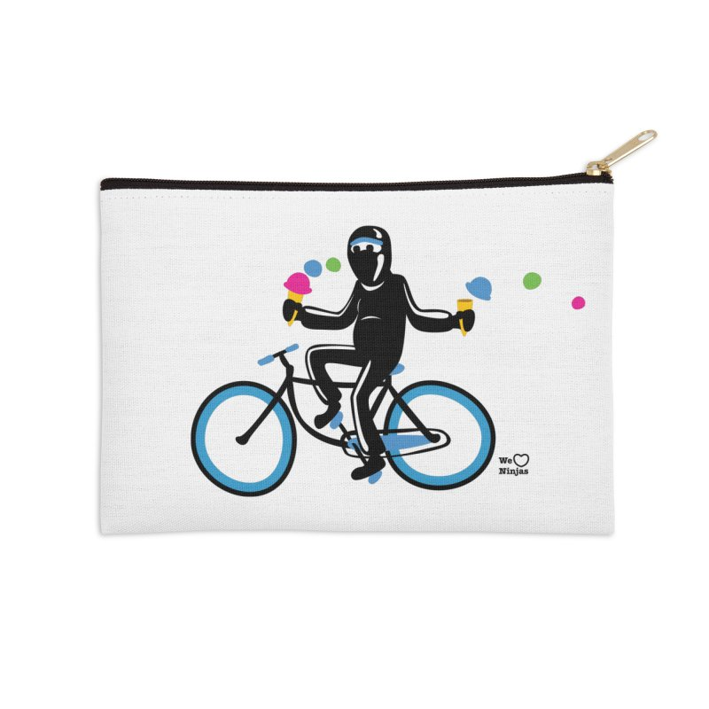 Ninja on a blue bike! Accessories Zip Pouch by Weheartninjas's Artist Shop