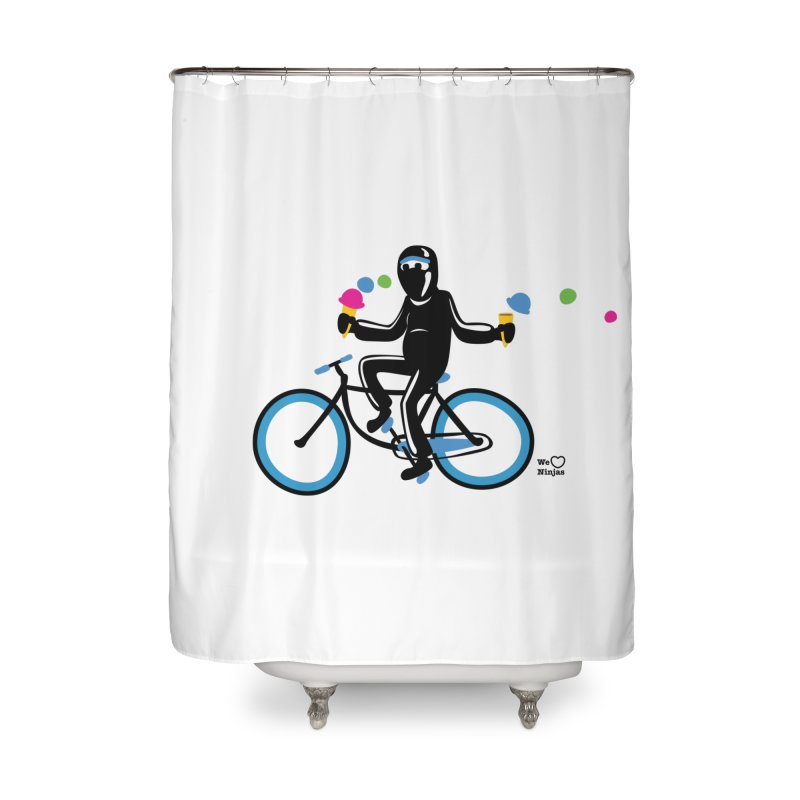 Ninja on a blue bike! Home Shower Curtain by Weheartninjas's Artist Shop