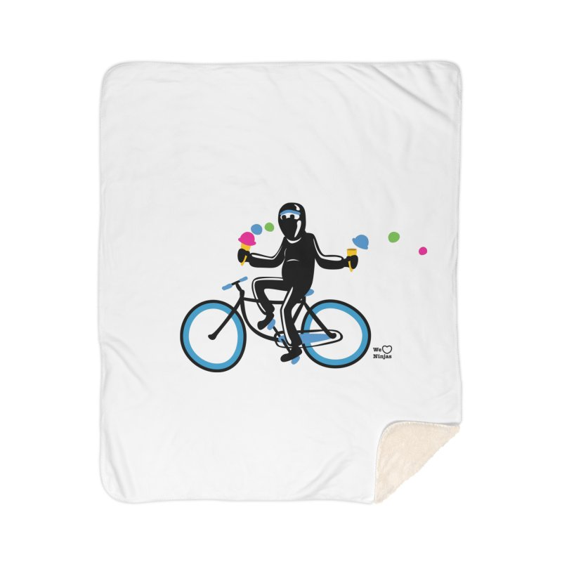 Ninja on a blue bike! Home Sherpa Blanket Blanket by Weheartninjas's Artist Shop