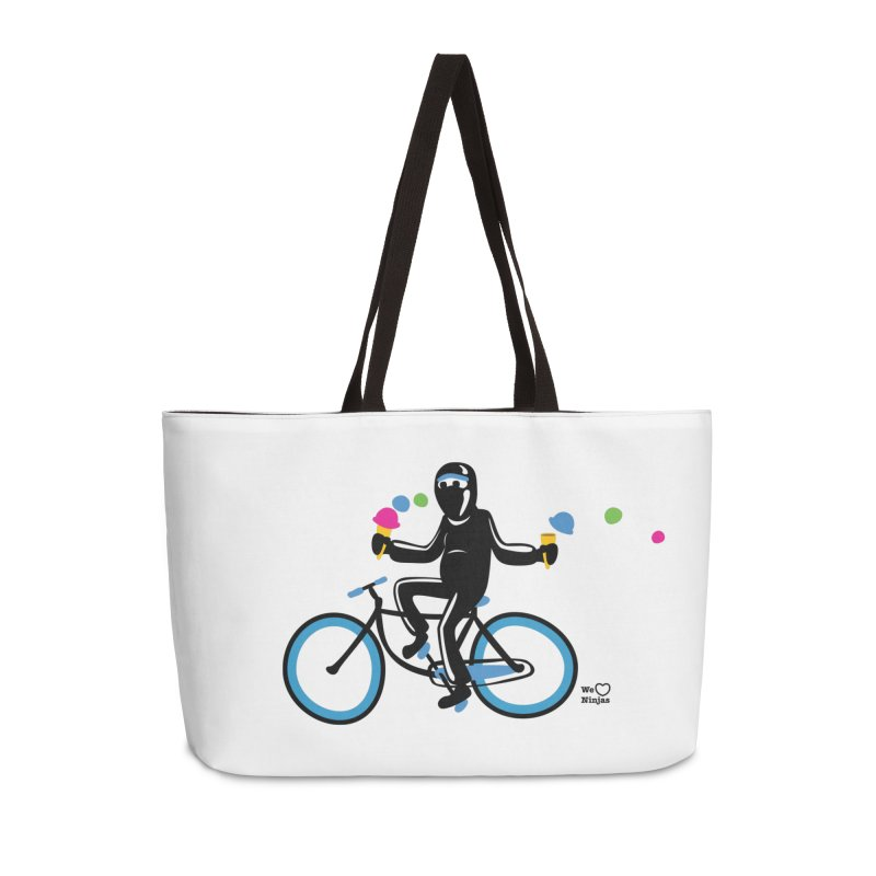 Ninja on a blue bike! Accessories Weekender Bag Bag by Weheartninjas's Artist Shop