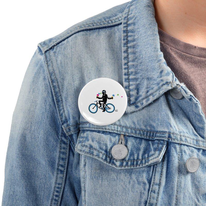 Ninja on a blue bike! Accessories Button by Weheartninjas's Artist Shop