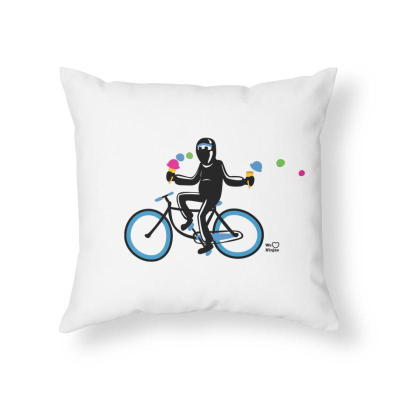 Ninja on a blue bike! Home Throw Pillow by Weheartninjas's Artist Shop