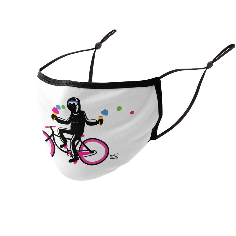 Ninja on a neon pink bike! Accessories Face Mask by Weheartninjas's Artist Shop