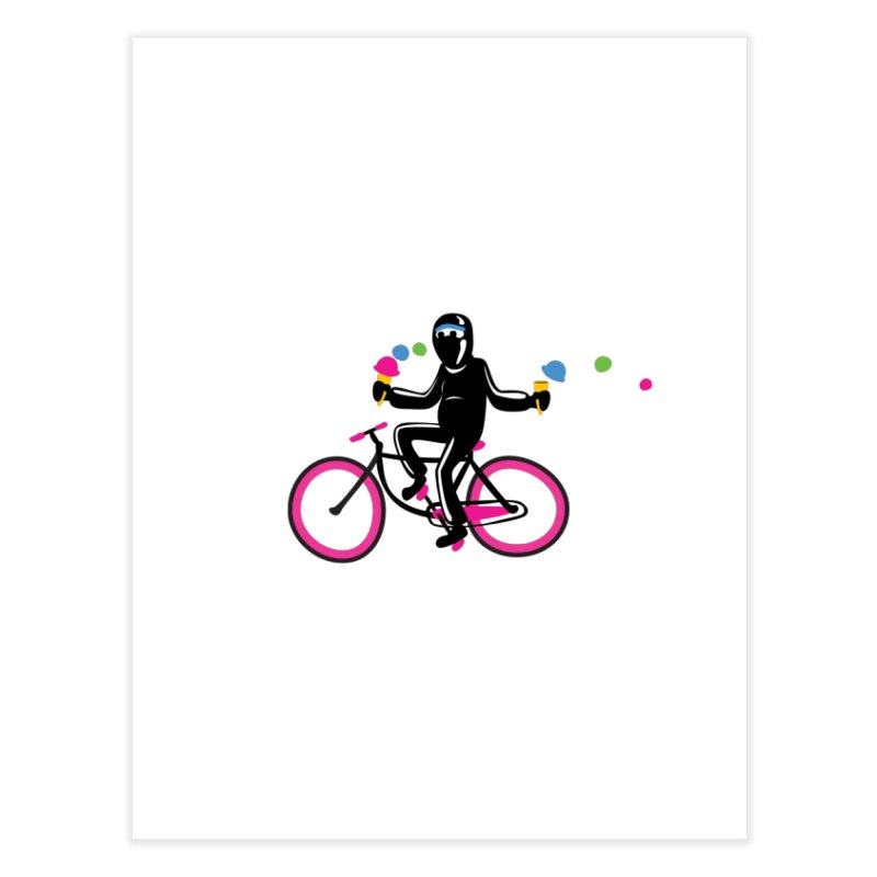 Ninja on a neon pink bike! Home Fine Art Print by Weheartninjas's Artist Shop
