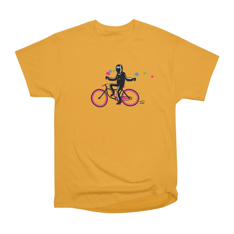 Ninja on a neon pink bike! Men's Heavyweight T-Shirt by Weheartninjas's Artist Shop