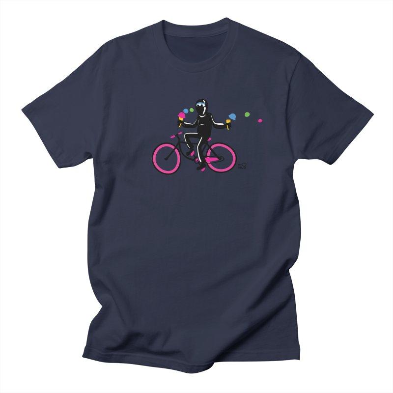 Ninja on a neon pink bike! Men's T-shirt by Weheartninjas's Artist Shop