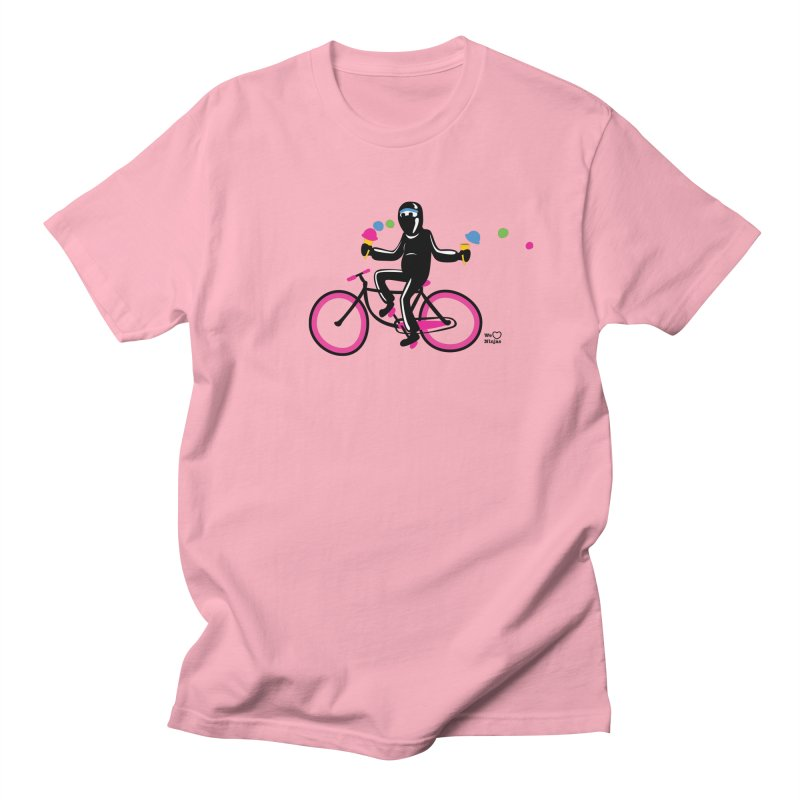 Ninja on a neon pink bike! Men's Regular T-Shirt by Weheartninjas's Artist Shop