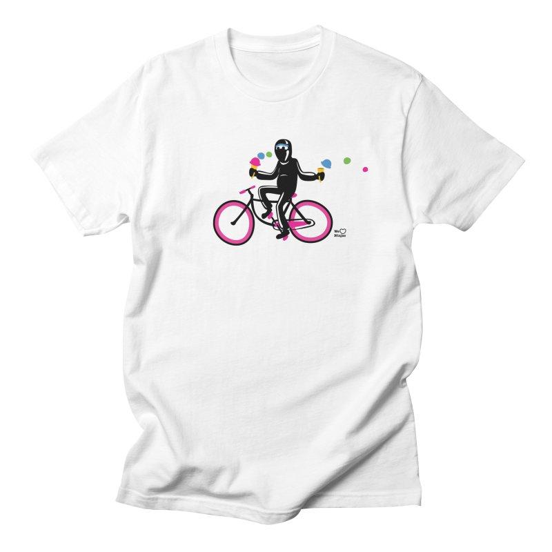 Ninja on a neon pink bike! Men's Regular T-Shirt by Weheartninjas's Artist Shop