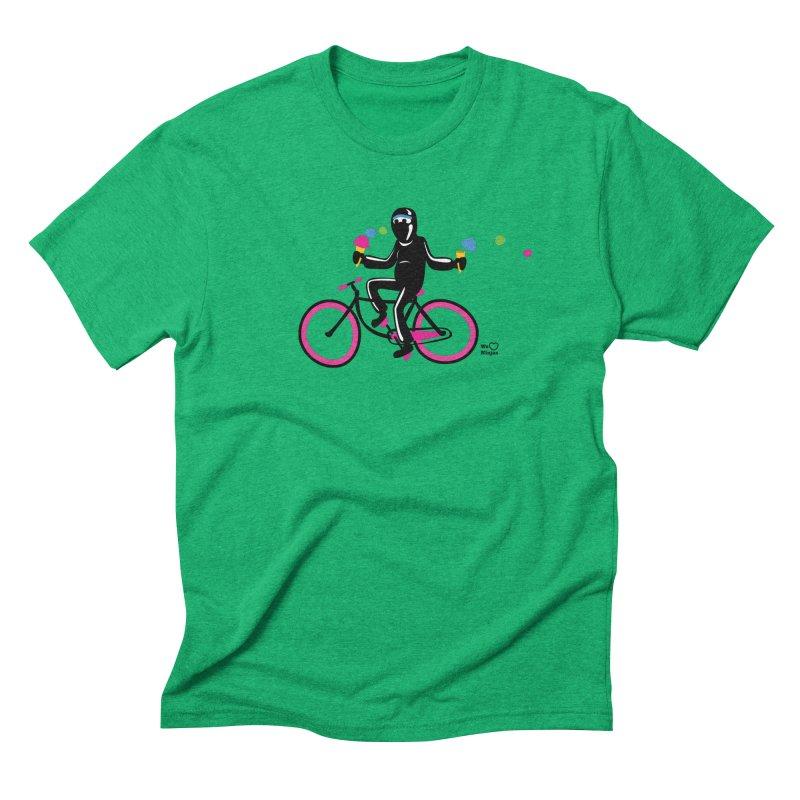 Ninja on a neon pink bike! Men's Triblend T-Shirt by Weheartninjas's Artist Shop