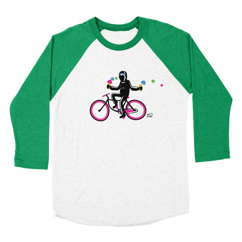 Ninja on a neon pink bike! Men's Baseball Triblend Longsleeve T-Shirt by Weheartninjas's Artist Shop