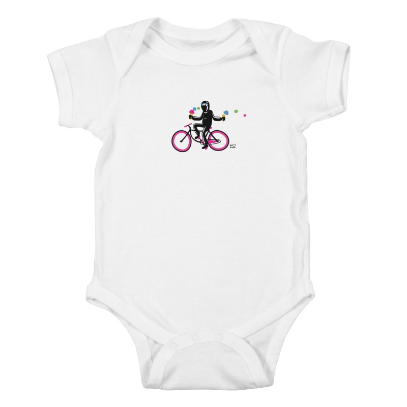 Ninja on a neon pink bike! Kids Baby Bodysuit by Weheartninjas's Artist Shop
