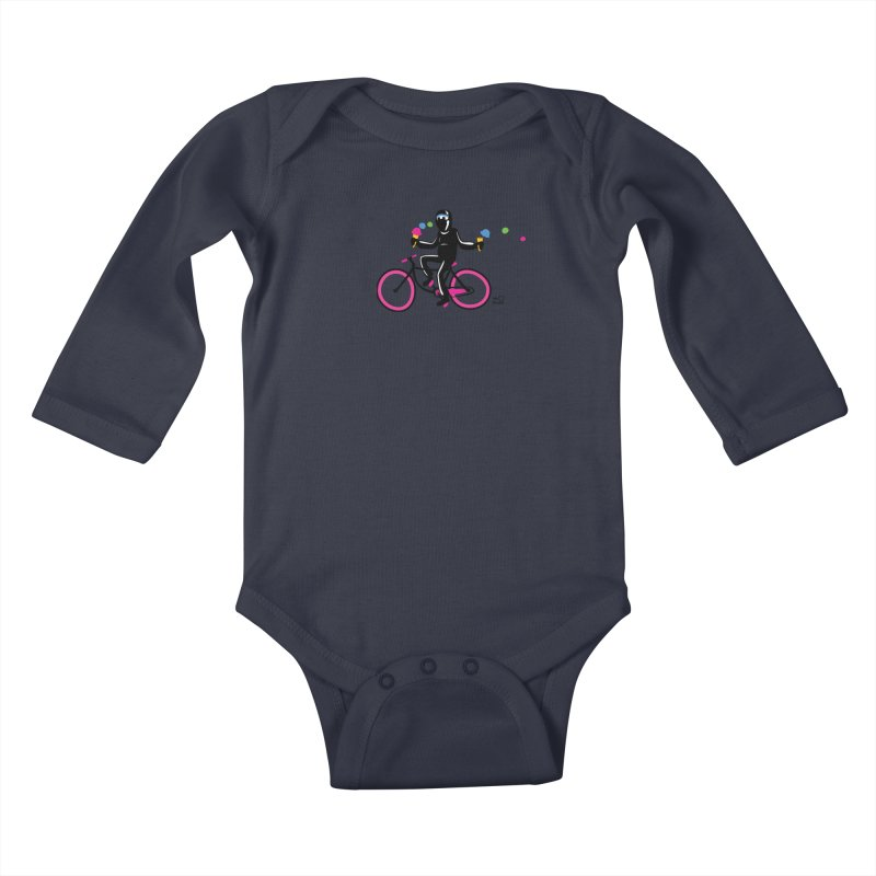 Ninja on a neon pink bike! Kids Baby Longsleeve Bodysuit by Weheartninjas's Artist Shop