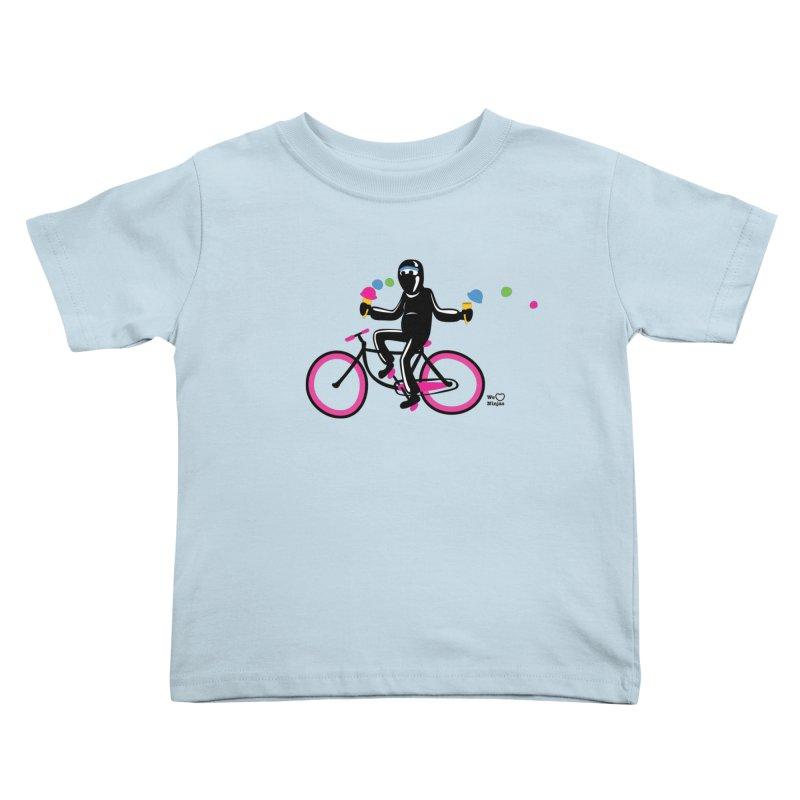 Ninja on a neon pink bike! Kids Toddler T-Shirt by Weheartninjas's Artist Shop