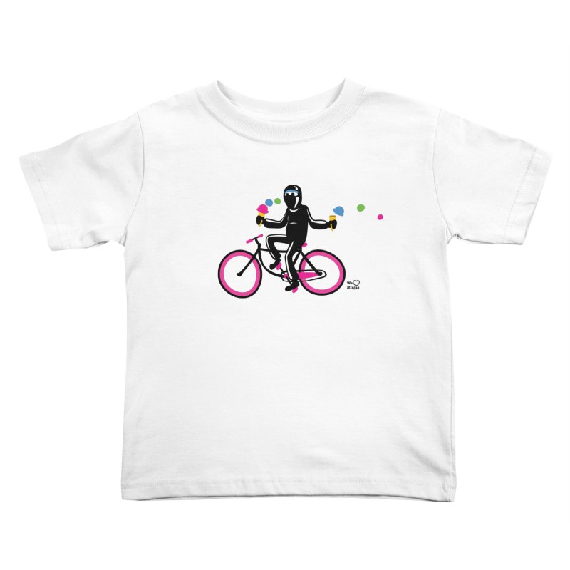 Ninja on a neon pink bike! Kids Toddler T-Shirt by Weheartninjas's Artist Shop