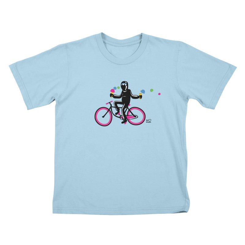 Ninja on a neon pink bike! Kids T-shirt by Weheartninjas's Artist Shop