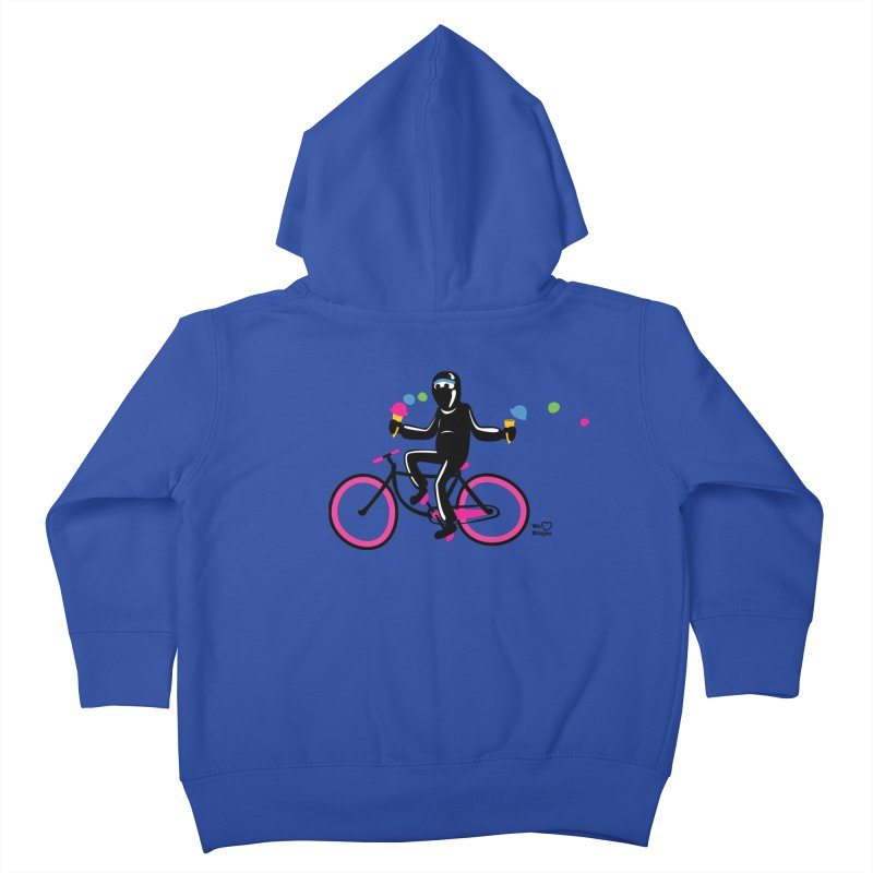 Ninja on a neon pink bike! Kids Toddler Zip-Up Hoody by Weheartninjas's Artist Shop