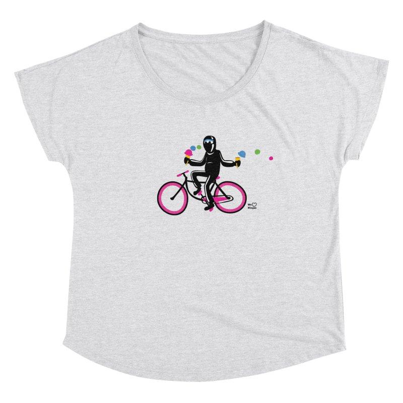 Ninja on a neon pink bike! Women's Dolman Scoop Neck by Weheartninjas's Artist Shop