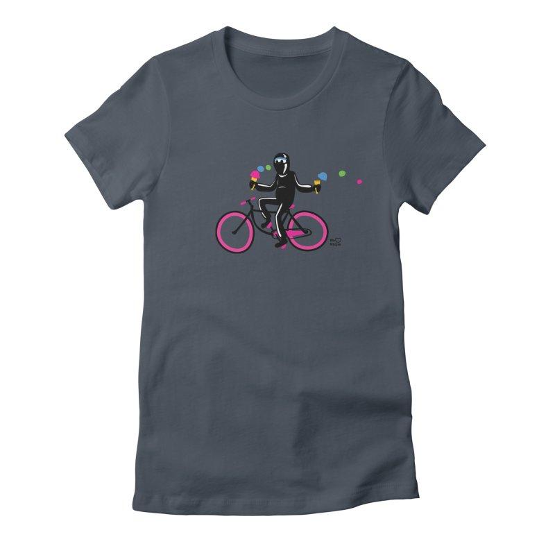 Ninja on a neon pink bike! Women's T-Shirt by Weheartninjas's Artist Shop