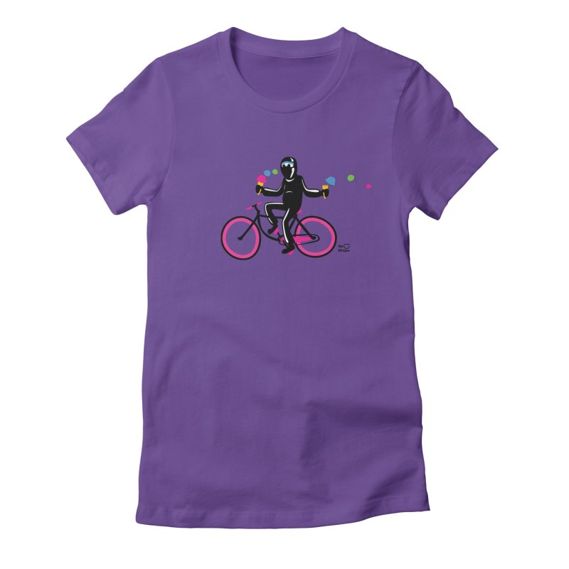 Ninja on a neon pink bike! Women's Fitted T-Shirt by Weheartninjas's Artist Shop