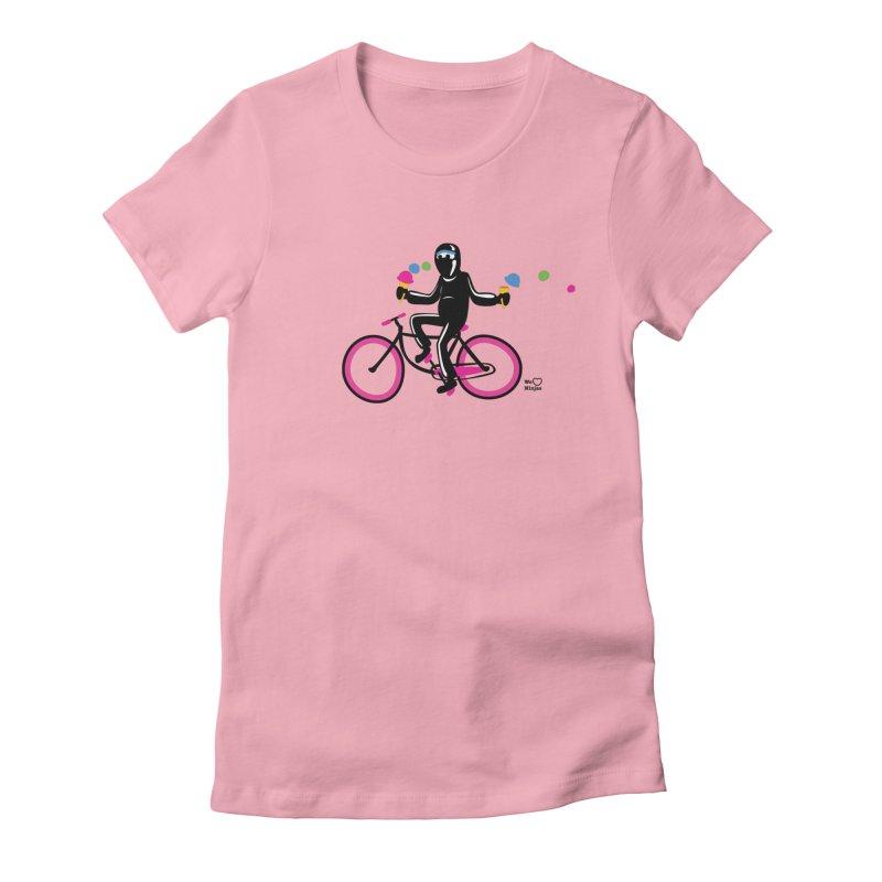 Ninja on a neon pink bike! Women's Fitted T-Shirt by Weheartninjas's Artist Shop
