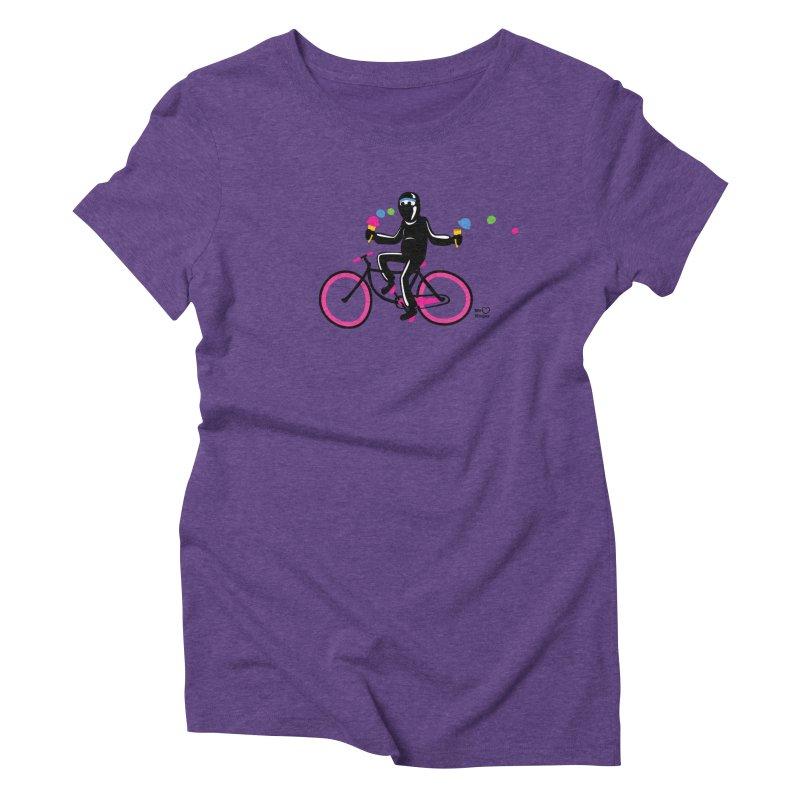 Ninja on a neon pink bike! Women's Triblend T-Shirt by Weheartninjas's Artist Shop