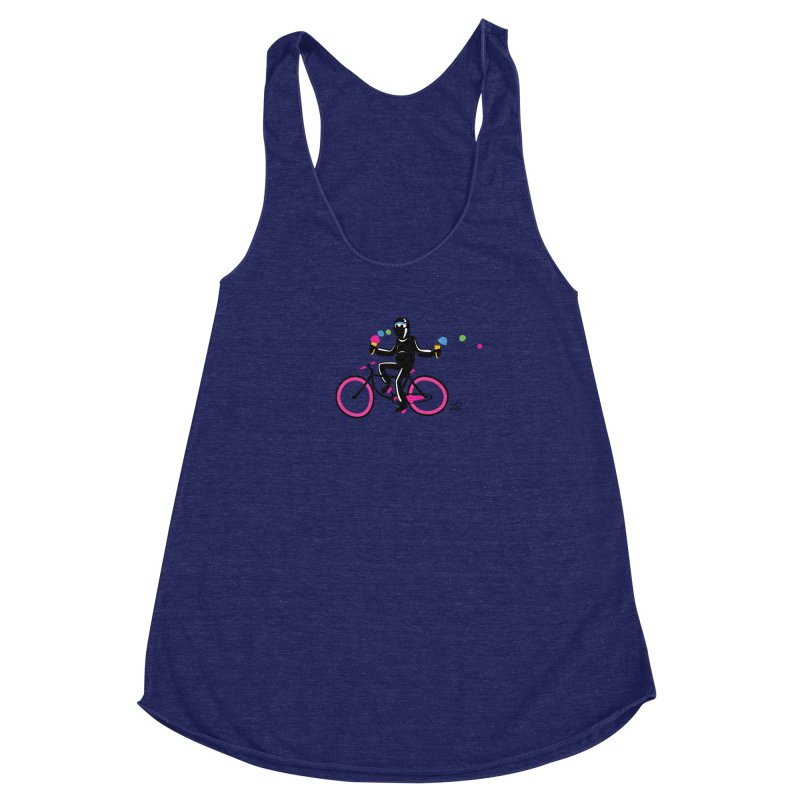 Ninja on a neon pink bike! Women's Racerback Triblend Tank by Weheartninjas's Artist Shop