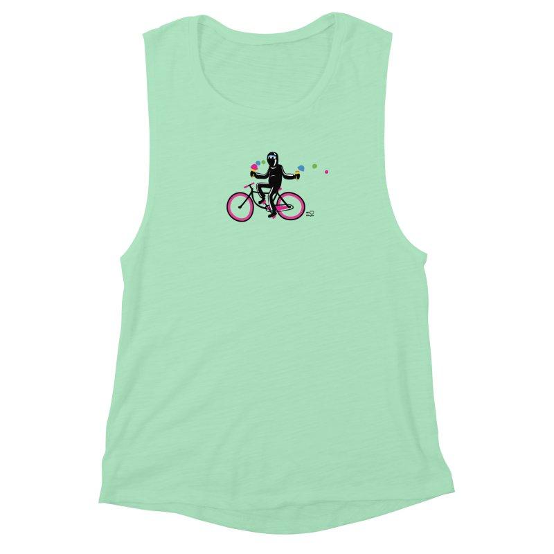 Ninja on a neon pink bike! Women's Muscle Tank by Weheartninjas's Artist Shop